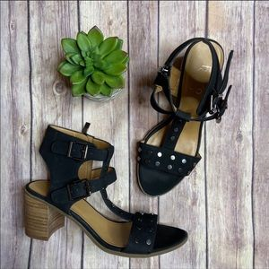 Franco Sarto Black Suede Studded Haven Sandal 7.5